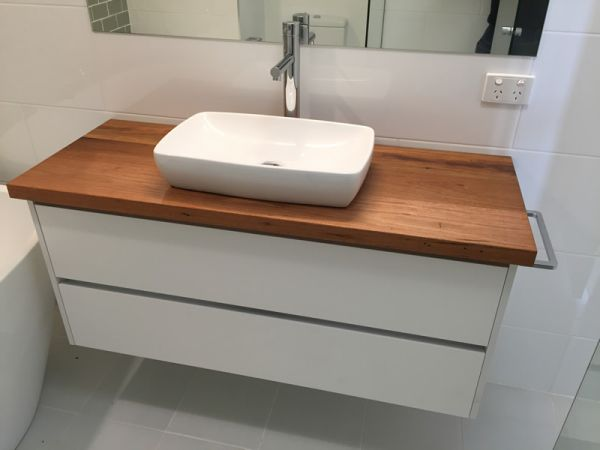wooden top vanity with drawers with no handles